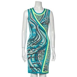 HERVE LEGER Abstract Printed Blue Bandage Dress S